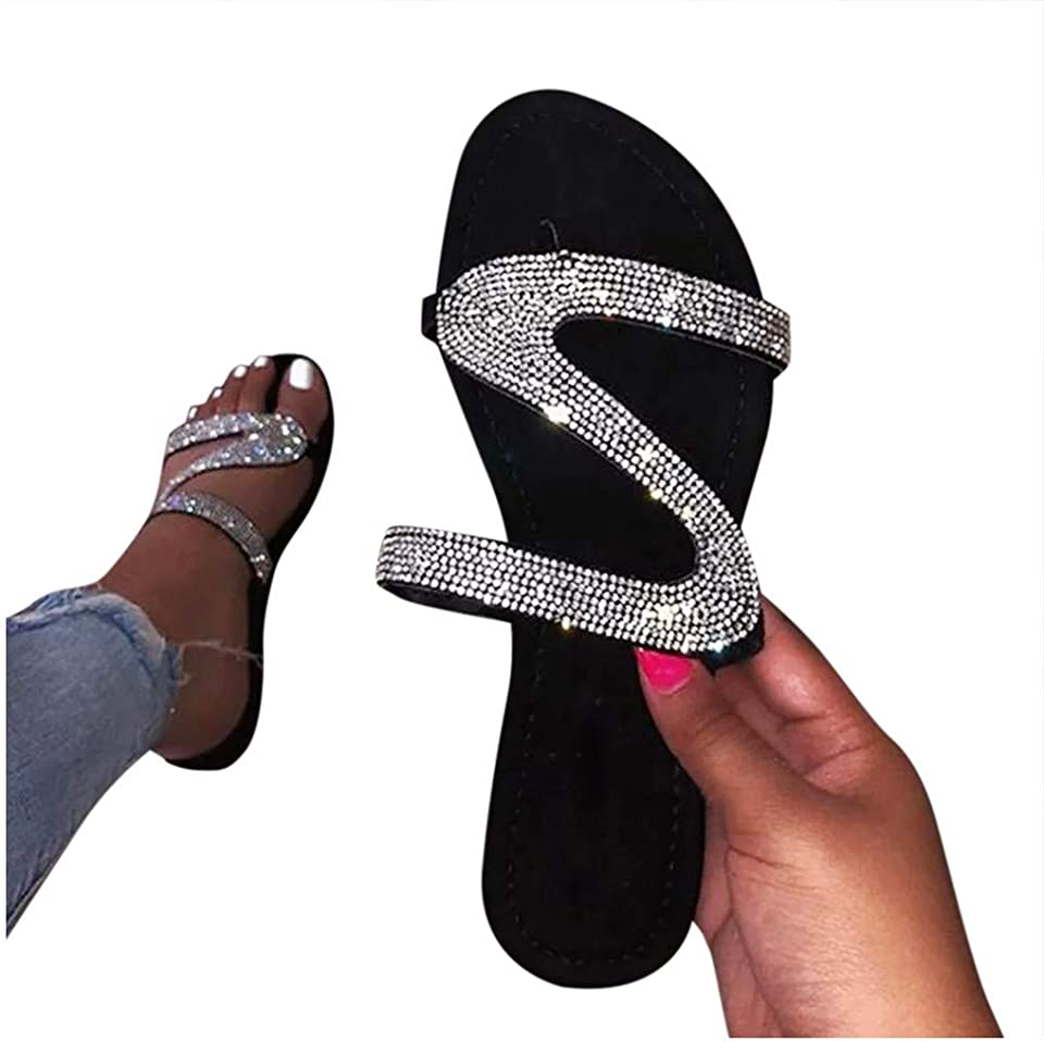 Sandals for Women Casual Summer Flat Rhinestone Crystal Sandal Slippers Comfy Beach Roman Shoes Flip Flops