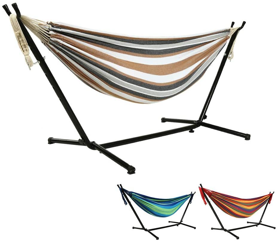 Includes Portable Carrying Bag Perfect for Indoor Outdoor Patio Goutime 9Ft Double Hammock with Detachable Stand,450 Pound Capacity Yard,Balcony Blue Deck