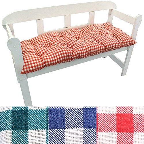 PROHEIM Gartenbank-Auflage Karo Auflage-Kissen für Bänke und Gartenschaukel Sitzkissen für Bank Sitzpolster 8 cm dick, Farbe:Rot, Größe:120 x 50 x 8 cm