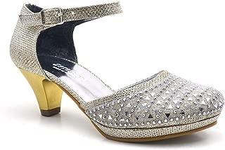 Taşlı Altın Platform Topuklu Kız Çocuk Abiye Ayakkabı
