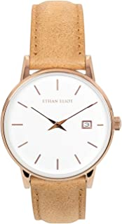 Ethan Eliot Classic Women's Watch, Savannah 36mm Rose Gold Watch for Women with Date, Stainless Steel Rose Gold Case, White Face & Genuine Leather Band, 5ATM Water Resistant Watches