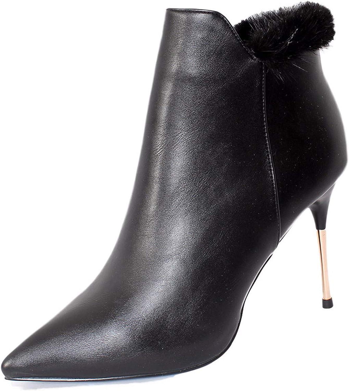 Olici Damen Stiefel, elegant, für Arbeit Freizeit, Temperament, kurz, 9 cm, Schwarz Spitze, nackte Stiefel, dünn und sexy Ma Dingxue