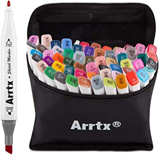 Arrtx Alcohol Based Markers Dual Tip, 60 Colors Art Markers Set with Maker Carry Bag Perfect for Illustration, Sketch Comics, Cartooning, Anime, Drawing, Design