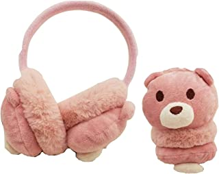 protetor/tapa ouvido orelhas para frio em pelúcia tema ursinho rosa super quentinho