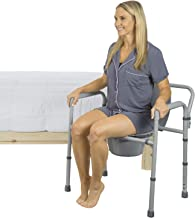 Vive Bariatric Bedside Commode - Folding 3n1 Toilet Seat Chair - Portable, Extra Wide with Bucket Splash Guard - Heavy Duty, Adult Bathroom Bari DME Bedaide - Pail Fits Standard Disposable Liner Bags