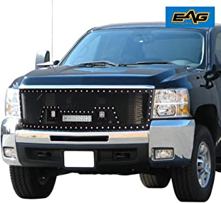 EAG Grille Black Stainless Steel Wire Replacement Mesh Grille LED Light Fit for 11-14 Chevy Silverado HD