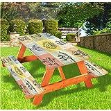 LEWIS FRANKLIN - Cortina de ducha moderna de lujo para picnic, mantel ajustable con borde elástico, 28 x 72 pulgadas, juego de 3 piezas para mesa plegable