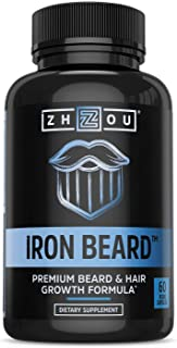 Zhou Iron Beard | Growth Vitamin Supplement for Men | 30 Servings, 60 Capsules
