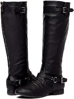 ShoBeautiful Women's Block Low Heel Knee High Boots Zipper Closure with Buckle Fashion Riding Boots (10, Black)