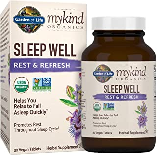 Garden of Life mykind Organics Sleep Well Rest & Refresh 30 Tablets, Lemon Balm, Green Tea Extract L-Theanine, Valerian Root, Chamomile, Probiotics-Organic Non-GMO Vegan Gluten Free Herbal Supplement