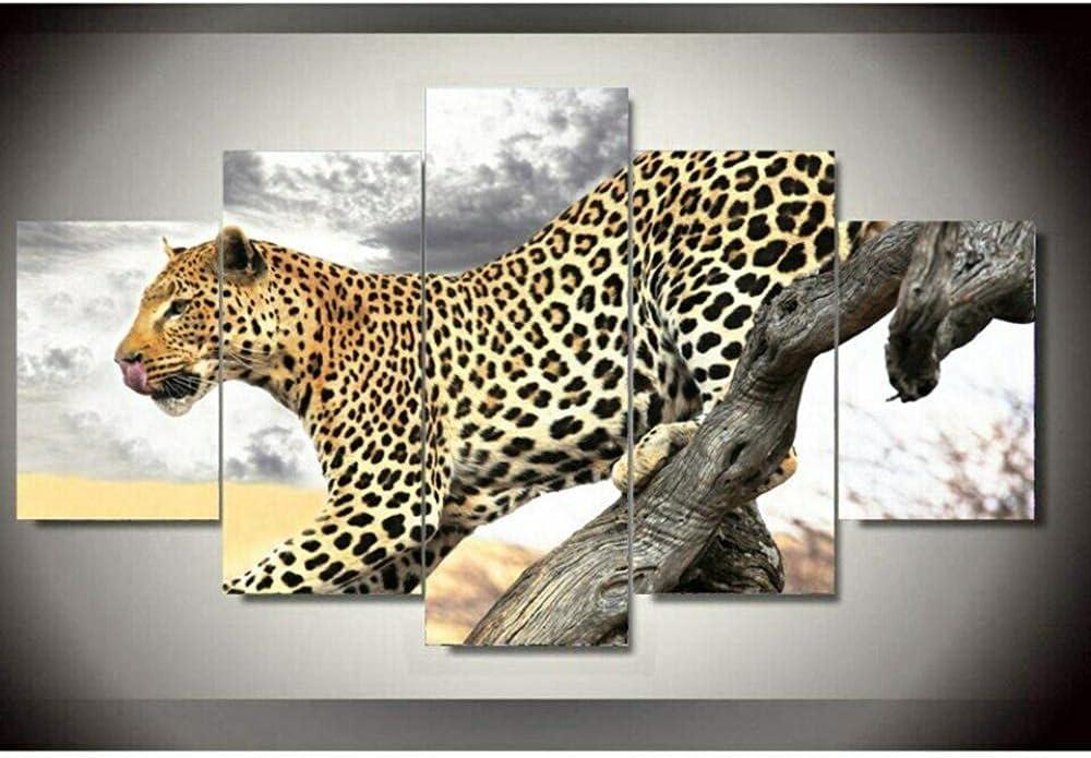 New [Alternative dealer] mail order KLSDJ Prints on Canvas 5 Pieces for Livi Animal Art Leopard Wall