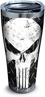 Tervis 1292883 Marvel-Punisher Insulated Tumbler with Clear and Black Hammer Lid, 30 oz Stainless Steel, Silver