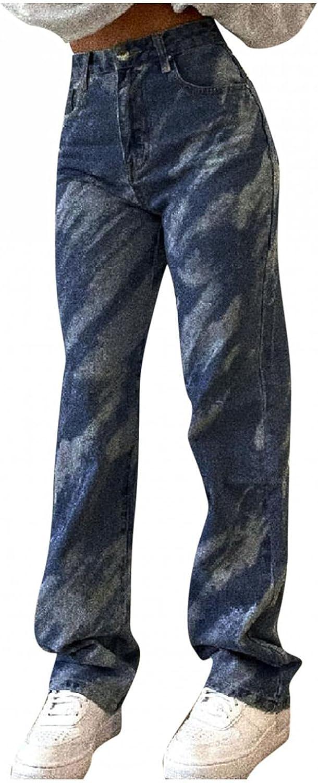 Bosanter Y2K Fashion Jeans for Women Straight Fit Denim Jeans Teen Girls High Waisted Straight Leg Streetwear Trousers