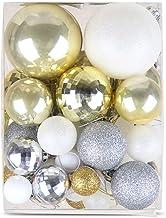 50 Pcs Christmas Hanging Pendant Baubles White Gold Christmas Balls Decoration Ornaments