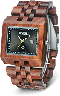 BEWELL Mens Wood Watch Square Handmade Wristwatch Date Japanese Quartz Movement with Wooden Band