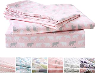 Vonty 3pcs Elephant Sheets Kids Twin Sheets Set Soft & Cozy Brushed Microfiber Sheets for Boys and Girls (1 Fitted Sheet + 1 Flat Sheet + 1 Pillowcase)