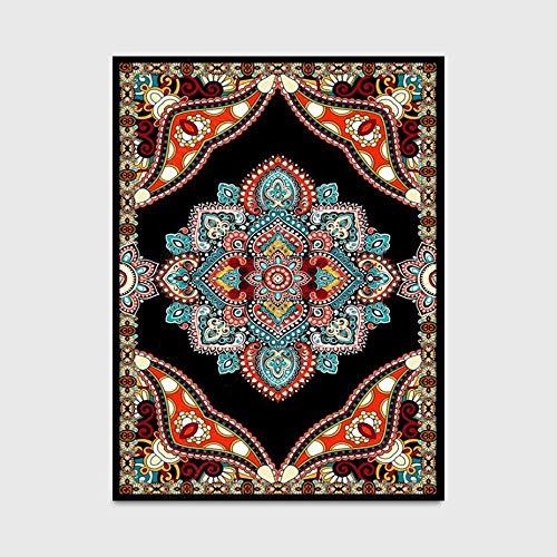 WQ-BBB Decorativa Absorbente La Alfombrers Estilo étnico Negro alfombras Dormitorio patrón Tradicional Rojo marrón Azul Bonita Aposentoes Alfombra 60X90cm