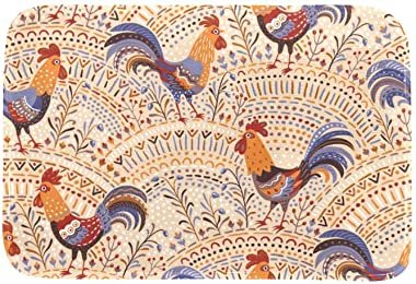 EGGDIOQ Doormats Cute Roosters in Floral Ornament Custom Print Bathroom Mat Waterproof Fabric Kitchen Entrance Rug, 23.6 x 15