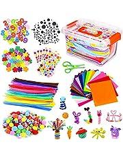 Vacoulery Kit de Manualidades para Niños, Pipe Cleaners Crafts Set Pompones Ojos Manualidades Juego Creativo Regalo para Craft Juego Creativo Regalo para DIY Craft Art Supplies 700+ Pcs