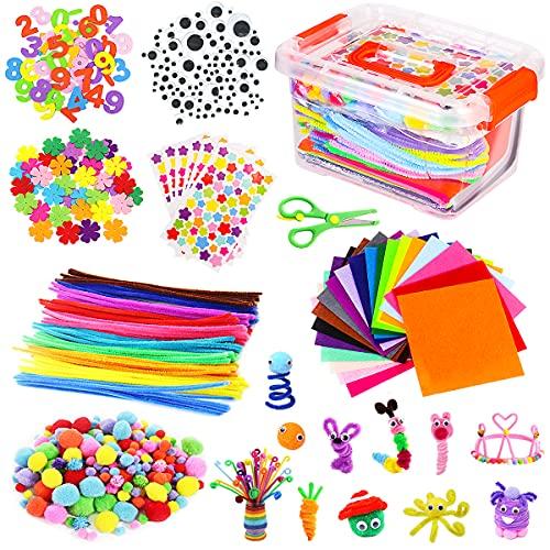 Vacoulery Lavoretti Creativi per Bambini, DIY Art Craft Set, Wiggle Occhi, Glitter Palla Pompon e Scovolini Pipa Ciniglia Steli per Mestiere Fai da Te Decorazioni, Sticks (Style 1)