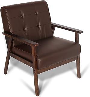 Mid-Century Retro Modern Accent Chair Wooden Arm...