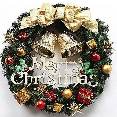 Ghirlanda Natalizia 30cm per Porta d'ingresso Finestre da Parete Decorazione per Esterni Buon Natale Ghirlanda Artificiale con Campana, Fiocchi Ornamenti