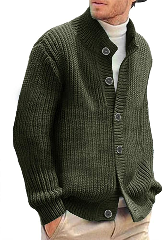 Makkrom Mens Stylish Cable Knitted Button Cardigan Sweater Chunky Stand Collar Sweaters