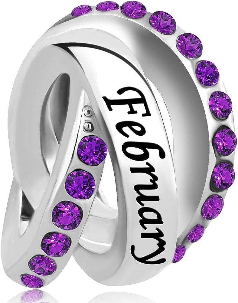ReisJewelry Jan-Dec Birthstone Birthday Charms Trinty Ring Beads for Bracelets