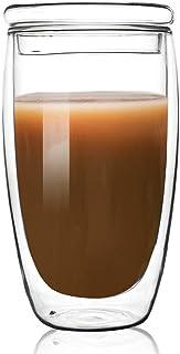 Double-Wall Borosilicate Glass Cup Coffee Mug Cup 16 oz (Glass Lid)