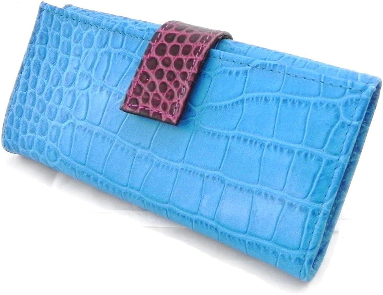 [On SALE   SOLDES  ]   Large leather wallet  Frandi  monochrome bluee crocodile.
