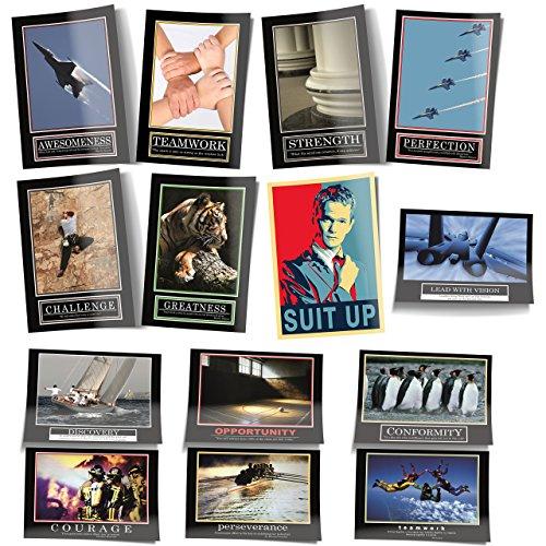 GREAT ART Poster Set – Barney Stinson Poster Set – 13 Poster Wandbild Dekoration How I met Your Mother Sitcom Schauspieler Motivationsposter Deko Bilder – je 84,1 x 59,42 cm