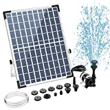 AISITIN 12W Powerful Solar Fountain Pump, Solar Water Fountain with 12 Double-Layer Nozzles Outdoor Solar Fountain Pump Kit for Pond Pool Garden Decoration