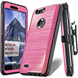 COVRWARE [Iron Tank] case Compatible with ZTE Blade Z Max (Z982)/Sequoia, with Built-in [Screen Protector] Heavy Duty Full-Body Holster Armor [Brushed Metal Texture] Case [Belt Clip][Kickstand], Pink