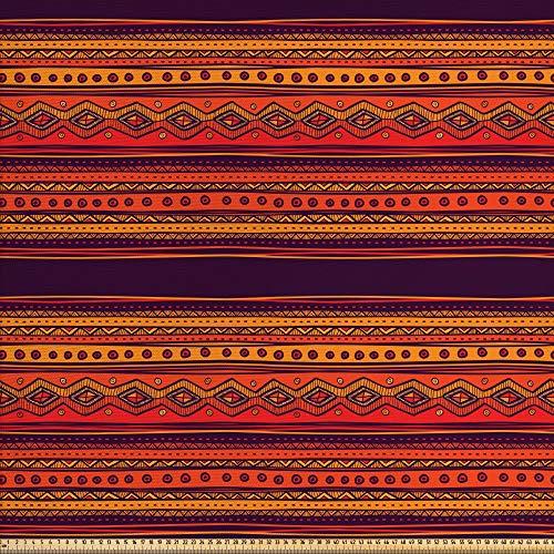 ABAKUHAUS Orange Gewebe als Meterware, Abstraktes Ethno-Gekritzel, Schön Gewebten Stoff für Polster und Wohnaccessoires, 1M (148x100cm), Orange Pflaume Rot