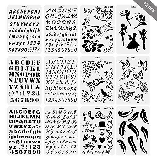Set di 12 Stencil in Plastica Riutilizzabili Bullet Journal Stencils in Numero L'allfabeti Lettere Fiori per Scrapbooking, Disegno, Scrittura, Pittura e Alcum Foto Fai Da Te Kit per Hobby Creativi