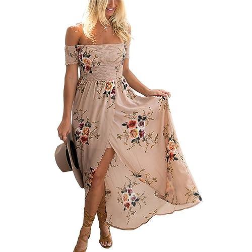 e55e3ba444 Miss Floral Womens Off Shoulder Floral Print Split Maxi Dress 3 Colour Size  6-16