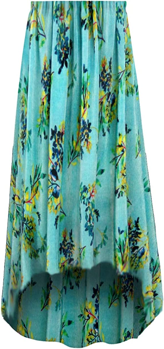 Floral Ribbed Satiny Slinky Floral Print Plus Size A/Line Skirt