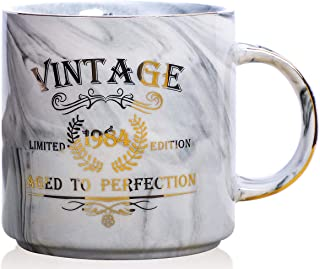 1984 35th Birthday Gifts for Women and Men Ceramic Mug - Funny Vintage 1984 Aged To Perfection - Anniversary Gift Idea for Him, Her, Mom, Dad Husband or Wife - Ceramic Marble Cups 13 oz (Grey)