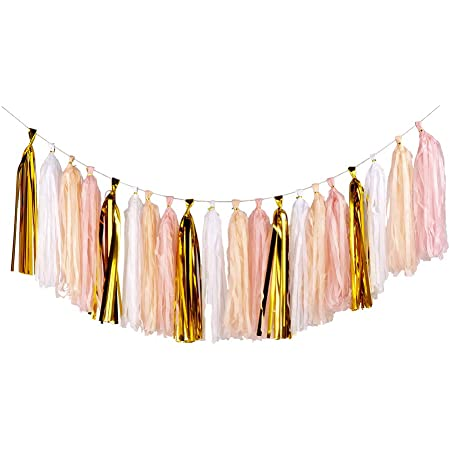 Woodland Natural Colors Tassel Garland Tissue Paper Tassels Garland Kit Set of 16 to 32 Or Choose your Colors