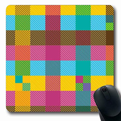 Jamron Mousepad OblongBlue Tartan Madras Indische Kreativpr眉fer Plaid Karierte Sch枚nheit Buntes Muster Retro Abstrakt Rutschfest Gummi Mauspad B眉ro Computer Laptop Spiele Mat