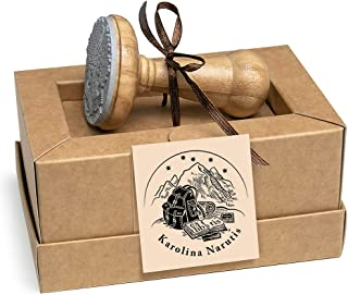 Ex libris, Timbri Personalizzati Zaino Viaggio Montagne Libri, Legno Rotondo 40mm, Scatole Regalo