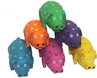 's 9-Inch Latex Polka Dot Globlet Pig Dog Toy, Assorted Colors Dog Toy (2 Pack) Assorted Colors