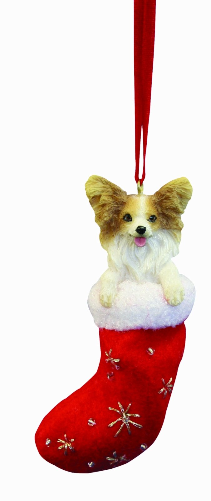 """Papillion Christmas Stocking Ornament with """"Santa's Little Pals"""" Hand Painted and Stitched Detail"""