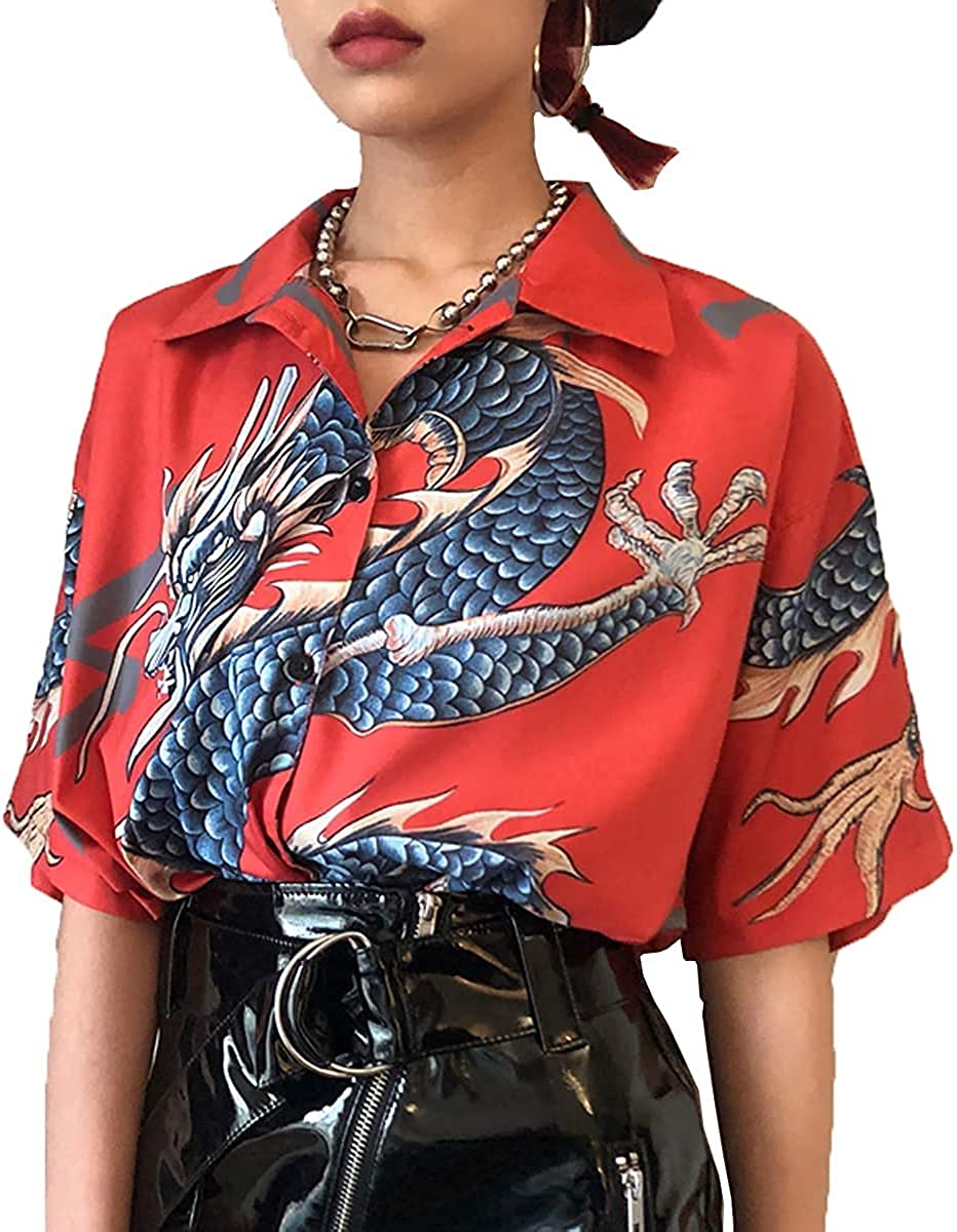 Abeaicoc Women Button Down Shirt Tops Short Sleeve Dragon Print Shirts Blouse
