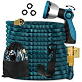 Expandable Garden Hose 100ft - Expanding Water Hose with 10 Function Nozzle /Durable 3300D/3/4' Solid fittings Connectors,Easy Storage Kink Free Garden Water Hose