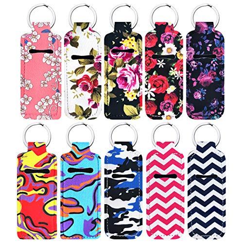 10 Pcs Lipstick Balm Holder Keychains Neoprene Chapstick Holder Keychain, Cute Design Neoprene Lip Balm Keychain Holder (Style 1)