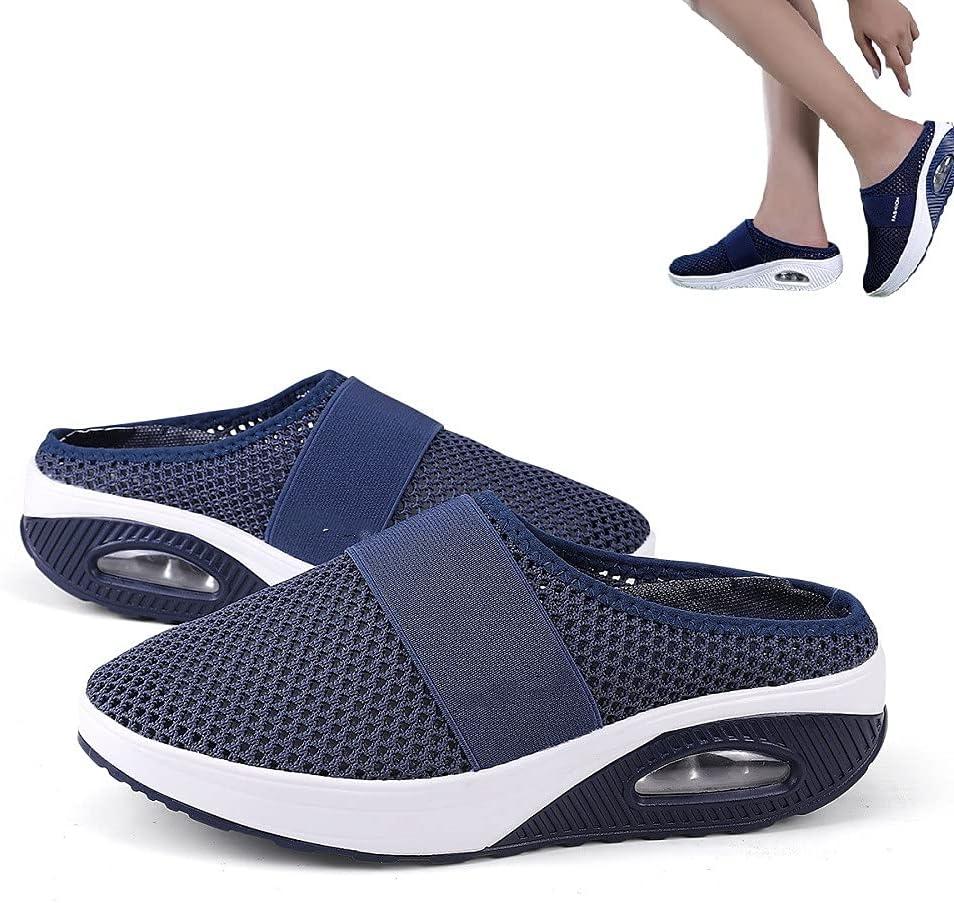 HengYuan Zapatos para Caminar con amortiguación de Aire para Mujeres, Sandalias ortopédicas de Malla Antideslizante para Caminar, Zapatillas de Deporte Casual Transpirables al Aire Libre (Blue,EU 38)
