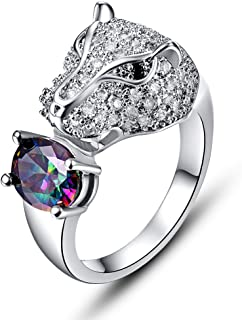 925 Sterling Silver Created Rainbow Topaz Filled Leopard Ring