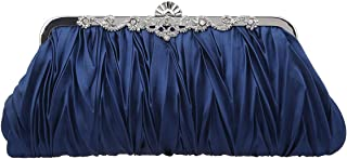 Bonjanvye Satin Pleated Clutch and Party Purses for Women Evening Clutches for Wedding