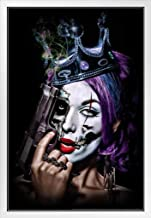 Daveed Benito Killer Queens Sexy Young Gothic Woman Painted Face Crown Handgun White Wood Framed Poster 14x20